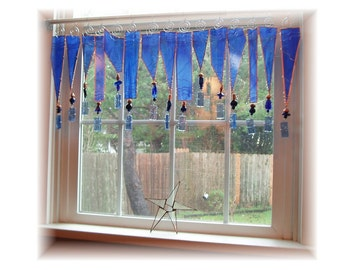 Bluetopia Number TWO   Stained Glass Window Treatment Valance