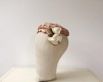 1950s hat / 50s velvet hat / Tawny Velvet hat