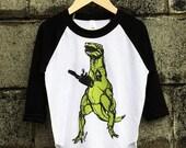 SALE T-rex + Chainsaw Kids Baseball Tee