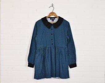 Vintage 90s Plaid Dress Plaid Flannel Dress Babydoll Dress Mini Dress 90s Dress 90s Grunge Dress Peter Pan Collar Blue Green Black Womens PM