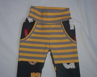 Baby Boy Pants with Big Boy Pockets in Alphabet Design on Grunge