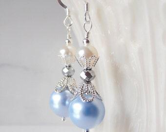 Light Blue Pearl Earrings, Bridesmaid Earrings, Beaded Dangles, Powder Blue and Cream, Bridesmaid Jewelry, Swarovski Pearl Wedding Jewelry