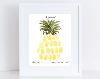 summer party guest book, tropical pineapple print for baby shower or birthday - fingerprint guest book tree alternative, nursery wall art