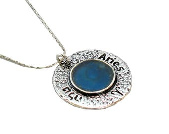 Roman Glass Round Aries Necklace, Oxidized Sterling Silver Necklace, Unique Zodiac Necklace, Blue Roman Glass Charm, Israel Birthday Gift