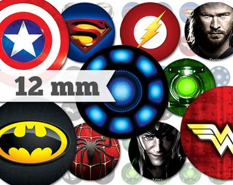 Superheroes - 16 Unique Images - 12mm Circles - Digital Collage Sheet - INSTANT DOWNLOAD