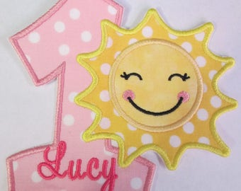 Sunshine Birthday Set in Light Yellow and Light Pink - Iron On or Sew On Embroidered Applique - Quick Ship - Now Includes Letters!