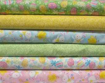 Easter Half Yard Fabric Bundle - Quilting Treasures - Eggs, Bunny, Easter Eggs