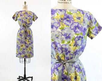 50s Dress Floral Silk XS / 1950s Vintage Dress Wiggle Dress / Pretty Pansy Dress