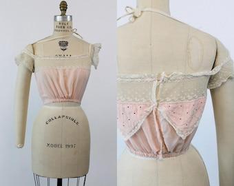 1930s Camisole Lingerie XS  / 30s Silk Lace Top  /  Strawberry Shortcake Blouse