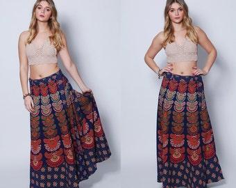 Vintage INDIAN Wrap Skirt Boho Maxi Skirt RAINBOW Hippie Skirt Ethnic Festival Skirt 90s  Printed Skirt