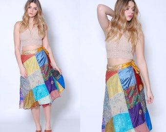 Vintage 90s Wrap Skirt PATCHWORK Skirt Boho Indian SILK Skirt CONTRASTING Print Skirt Hippie Skirt