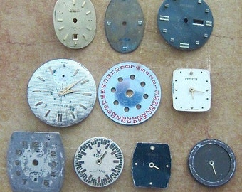 Vintage Antique Watch  Assortment Faces - Steampunk - Scrapbooking y49