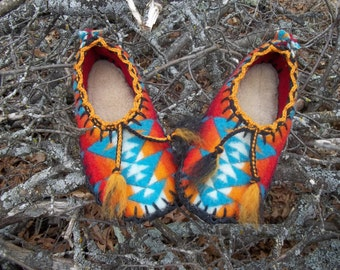 Turquoise and Tassels Scuffs-Felted Blanket Wool / Sheepskin & Leather Soles Moccasins / Slippers - Women's or Men's Sizes