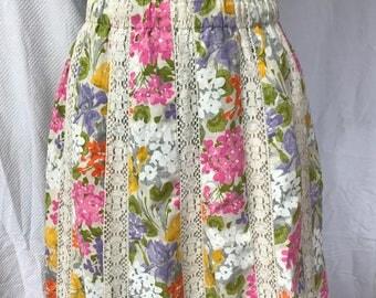 Vintage 70s Panel Crochet Floral Hippie Skirt S M