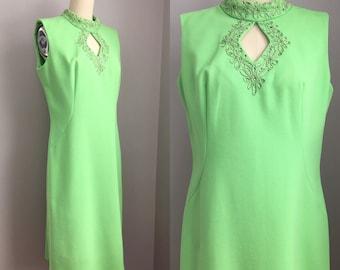 Vintage 1960s Lime Green Rhinestone  Keyhole Neckline Cocktail Party Shift Dress Size Medium