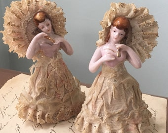 Ruffled Ladies Lace Figurines