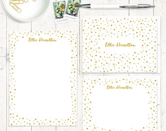 complete personalized stationery set - CONFETTI - note cards - notepad - fun stationary set - dots