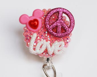 Peace And Love And Mickey Mouse In Pink ID Badge Reel - Retractable ID Badge Holder - Zipperedheart