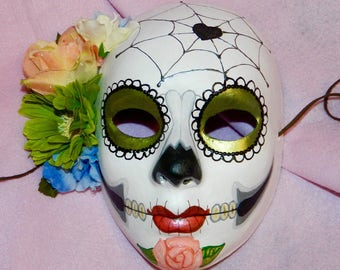 Day of the Dead Mask Mexican Electric Green Sugar Skull Wedding Halloween