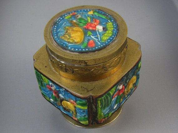 Vintage brass enamel Chinese / made in China / opium / tea / lidded jar / trinket box / jar / shabby chic / vintage / brass jar / incense