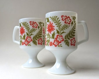 Mid Century Modern vintage Tropical Floral Print Milk Glass Pedestal Mugs /  Set of 2