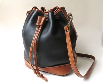 Adirondack vintage Handcrafted Supple Black and Brown Brown Leather Bucket Bag / Artisan Bags Leather Bucket Bag /  Tote Bag Crossbody Bag