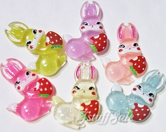 6 pcs - Bunny with strawberry Resin cabochons