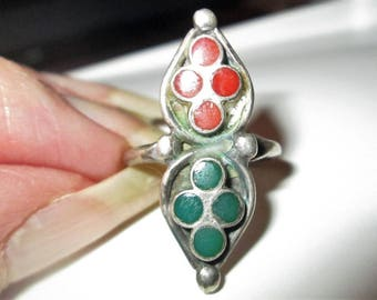 RING  - TURQUOISE - CORAL -Navajo - Handmade - Inlay - Elongated   - 925 - Sterling Silver - size 7 -  Turquoise181