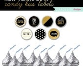 New Years 2017 Party Candy Hershey Kiss Printable Labels, Holiday Printable, Gold and Black New Years, Instant Download, Happy New Year