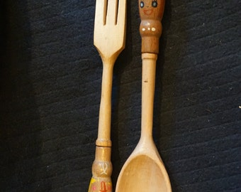 Vintage Kitschy Wooden Fork and Spoon with Happy Faces