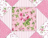 Dollhouse Miniature Small Scale Computer Printed Tan and Pink Patchwork Quilt Floral Fabric