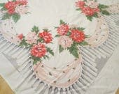 "Vintage Tablecloth / Linen Tablecloth / Mid Century Tablecloth / Pink floral design 48 x 58"" / Pink Carnations / Wedding Shower"