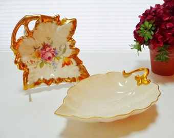 Lot 2 Vintage Porcelain Leaf Dish, Trinket, Jewelry, Nut, Candy - 1 Limoges, 1 Lenox