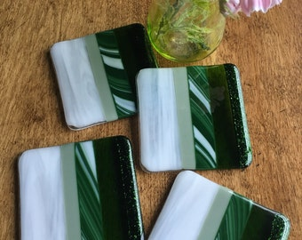 Fused Glass Green Coasters - Michigan State Fan