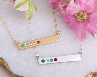 Bar Necklace with Birthstones, Perfect Personalized Gift for Mom, Silver Bar Necklace or Gold Bar Necklace with Birthstones, Family Necklace