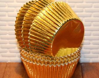 Gold Foil Cupcake Liners  (Qty 50) Foil Cupcake Liners, Gold Cupcake Liners, Gold Foil Baking Cups, Gold Foil Muffin Cups, Gold Baking Cups