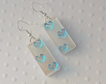 Aqua Blue Heart Earrings, Dichroic Fused Glass Earrings, Heart Earrings, Valentine Earrings, Gift For Her X3627