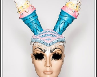 Oh So Edible…. Blue and Pink Ice Cream Cone Hat with Glitter
