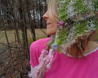 hand knit art yarn spring fantasy faerie hairnet hood hat - will-o-the-wisp muse