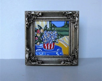 Original framed Acrylic Painting on canvas, Mini Painting, Hydrangeas, Tulips, French Country Decor, Landscape art, gift idea