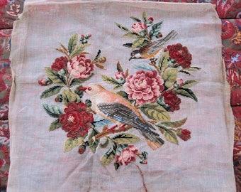 Antique Needlepoint Roses Birds Tapestry English
