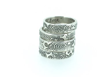 sample sale . silver wedding band . scroll engraved once upon a time ring by peacesofindigo . ready to ship size 6 7