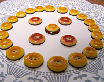 25 Vintage Buttons, Button lot, Butterscotch Buttons, Donut Buttons, Button supply