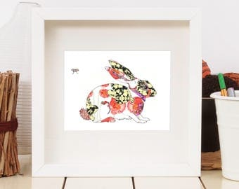 Rabbit Art Print Wall Art 13 x 19, 11 x 14, 8.5 x 11, 8 x 10, 5 x 7