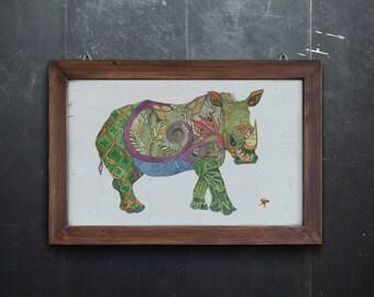 Rhinoceros Print Giclee Print Rhino Print Rhinoceros Art Home Decor Rhino Art Wall Decor Wall Art Animal Print Nursery Decor Nursery Print
