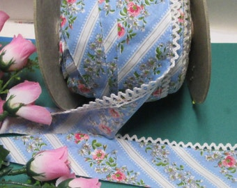 "Floral Lace Trim Bias 3-20yd French Blue Ribbon Picot Trim 1.87"" Vintage Ruffle Edging Yardage Lot Pink Flowered Stripe Bias Cut Tape BTY"