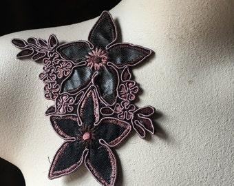 Espresso & Rose Applique Flower for Lyrical Dance, Garments,  Costume Design CA 405espr
