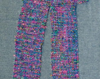 Women's Scarf, Shades of Blue and Pink Handwoven