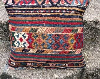 Handwoven South American, Native American Designed Pillow, Multicolor Wool with Cotton Back