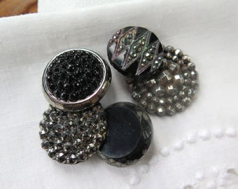 Antique Glass Buttons in Black, Silver and Cut Steel Collection of 5